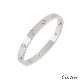 Cartier White Gold Half Diamond Love BraceletSize 19B6035819